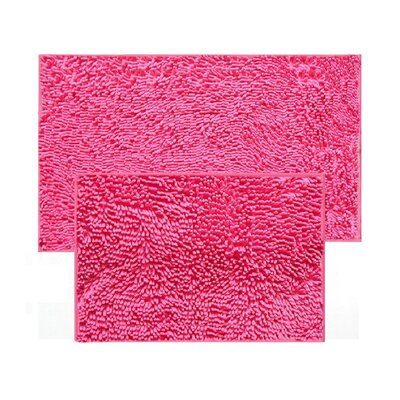 2 Piece Chenille Bath Rug Set Color: Hot Pink