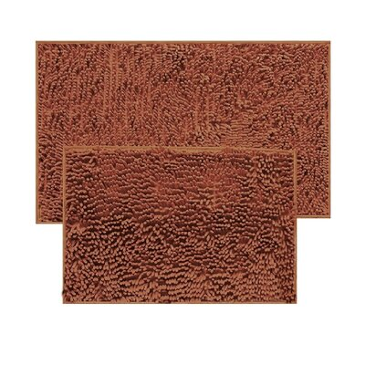 2 Piece Chenille Bath Rug Set Color: Brown