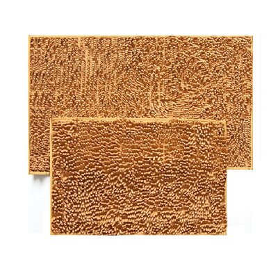 2 Piece Chenille Bath Rug Set Color: Gold
