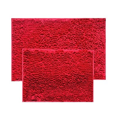 2 Piece Chenille Bath Rug Set Color: Red