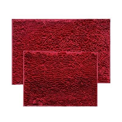 2 Piece Chenille Bath Rug Set Color: Burgundy