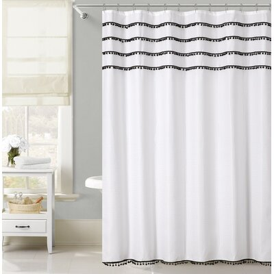 Freya Lace Border Shower Curtain Color: Black