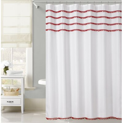 Freya Lace Border Shower Curtain Color: Red