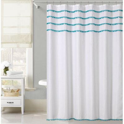 Freya Lace Border Shower Curtain Color: Aqua