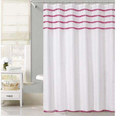 Freya Lace Border Shower Curtain Color: Pink