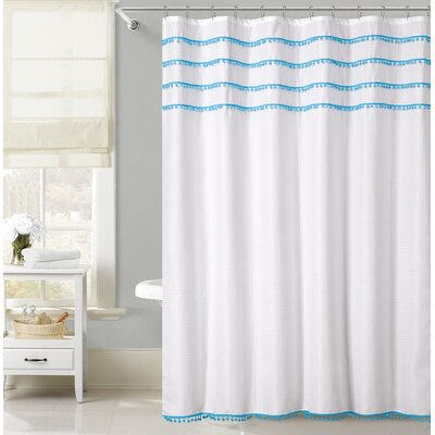 Freya Lace Border Shower Curtain Color: Blue