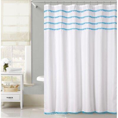 Freya Lace Border Shower Curtain Color: Blue