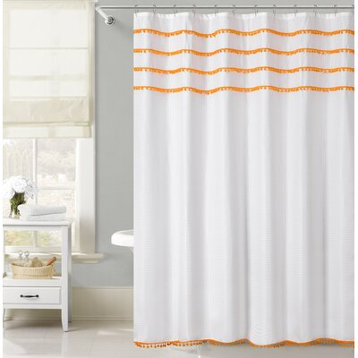 Freya Lace Border Shower Curtain Color: Orange