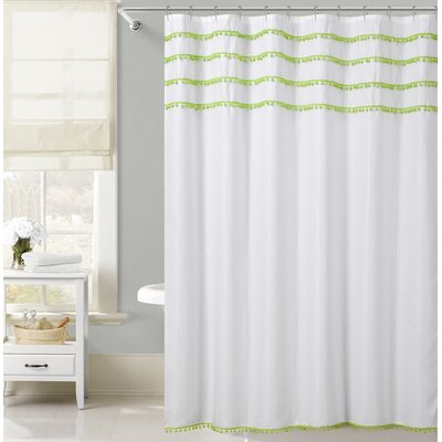 Freya Lace Border Shower Curtain Color: Green
