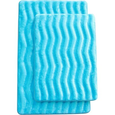 Wave 2 Piece Bath Mat Set Color: Turquise