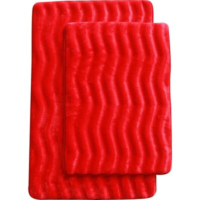 Saulter Wave 2 Piece Bath Mat Set Color: Red
