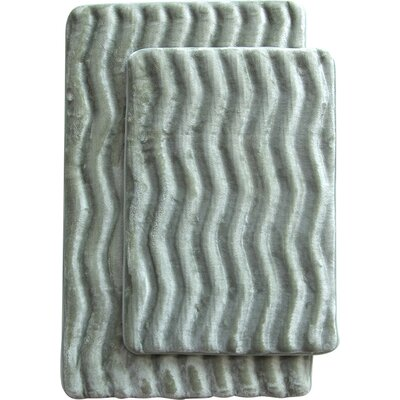 Wave 2 Piece Bath Mat Set Color: Sage