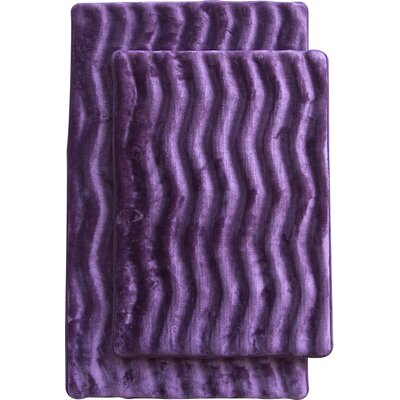 Wave 2 Piece Bath Mat Set Color: Purple
