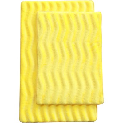Wave 2 Piece Bath Mat Set Color: Yellow