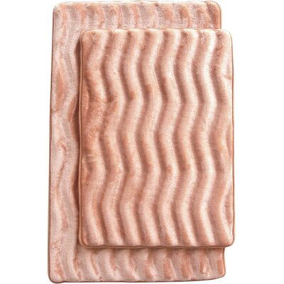 Saulter Wave 2 Piece Bath Mat Set Color: Taupe