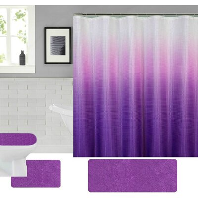 Spring Shower Curtain Set Color: Purple