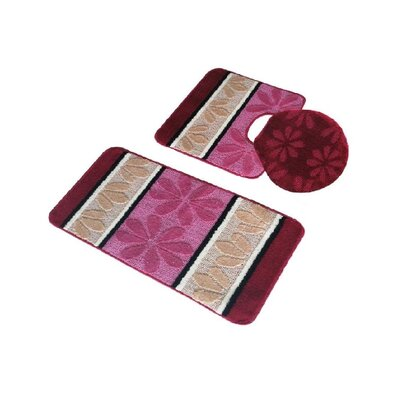 Torri 3 Piece Bath Rug Set Color: Burgundy/Beige