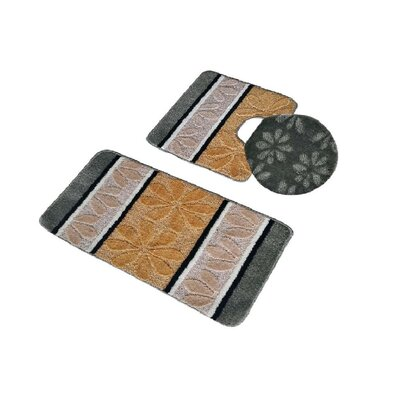 Torri 3 Piece Bath Rug Set Color: Sage/Beige