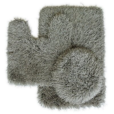 Pesina 3 Piece Bath Rug Set Color: Gray