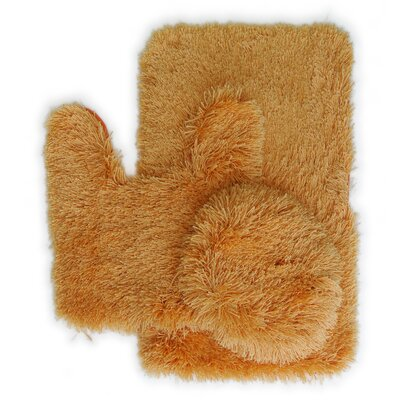 Pesina 3 Piece Bath Rug Set Color: Orange