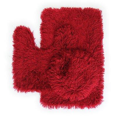 Pesina 3 Piece Bath Rug Set Color: Red