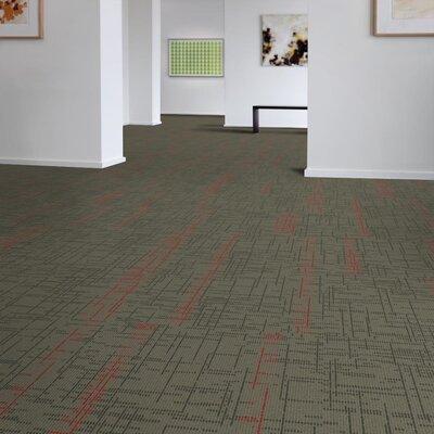 Saga 24 x 24 Carpet Tile in Gray/Red