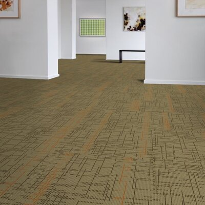 Saga 24 x 24 Carpet Tile in Beige/Orange