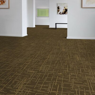 Saga 24 x 24 Carpet Tile in Brown/Yellow