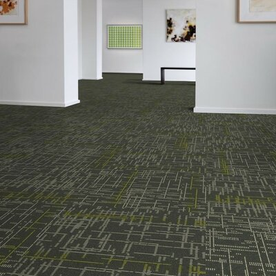 Saga 24 x 24 Carpet Tile in Gray/Yellow