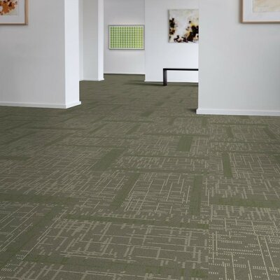 Saga 24 x 24 Carpet Tile in Gray/Green