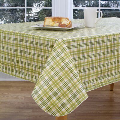 "Homestead Plaid Vinyl Tablecloth Size: 52"" W x 52"" L 73694ELRGRN52X52S"