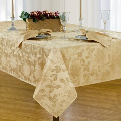 """Christmas Carol Damask Rectangle Tablecloth Size: 120"""" L x 60"""" W, Color: Gold"""