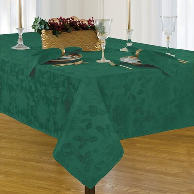 "Christmas Carol Damask Rectangle Tablecloth Size: 102"" L x 60"" W, Color: Hunter"