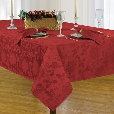 """Christmas Carol Damask Rectangle Tablecloth Size: 102"""" L x 60"""" W, Color: Red"""