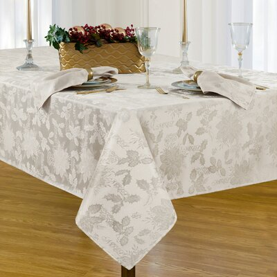"Christmas Carol Damask Rectangle Tablecloth Size: 102"" L x 60"" W, Color: White"