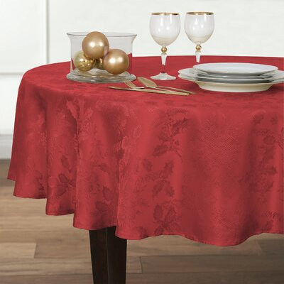 Christmas Carol Damask Round Tablecloth Color: Red