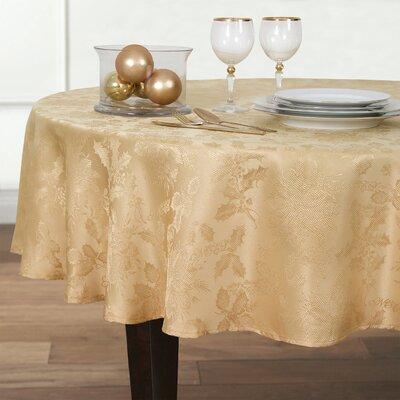Christmas Carol Damask Round Tablecloth Color: Gold