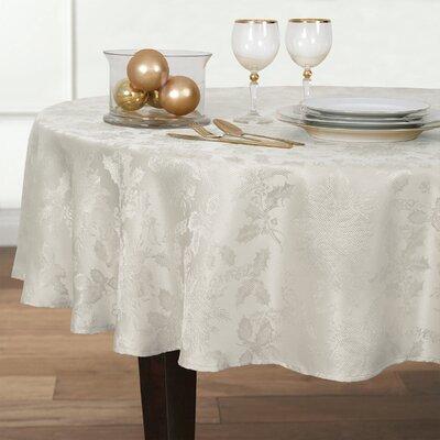 Christmas Carol Damask Round Tablecloth Color: White