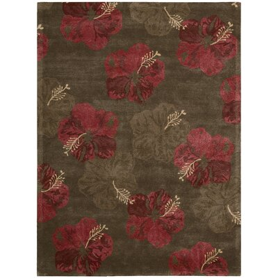 Sanjeev Hand-Woven Chocolate/Red Area Rug Rug Size: Rectangle 36 x 56