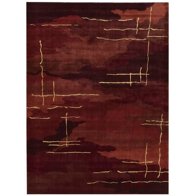 Parallels Red Area Rug Rug Size: 56 x 75