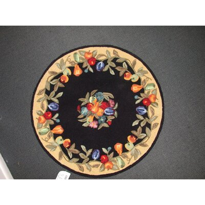 Everwheres Black Area Rug Rug Size: Round 76