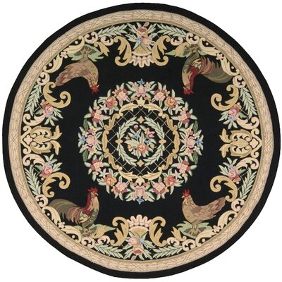 Ripley Black Area Rug Rug Size: Round 75