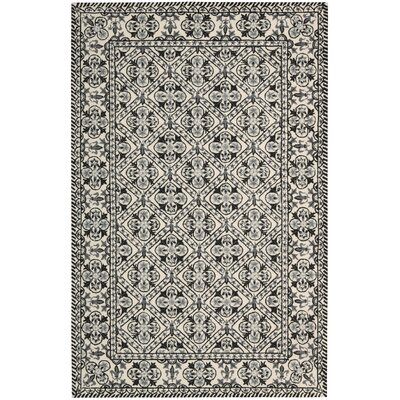Ehrenfeld Hand-Hooked Black/White Area Rug Rug Size: Rectangle 36 x 56
