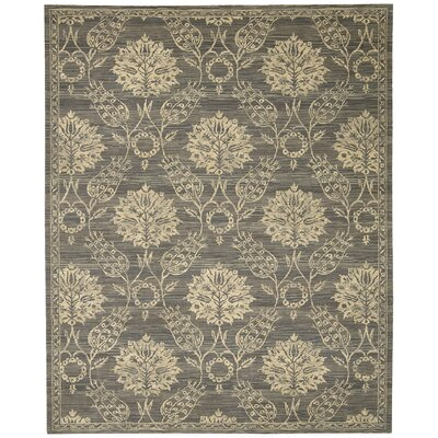Eidelweiss Graphite Ornamental Leaf and Floral Area Rug Rug Size: Rectangle 56 x 8