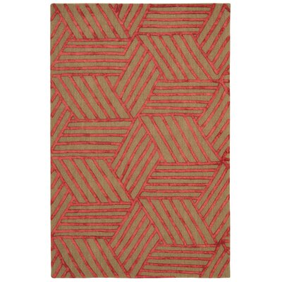Jandreau Hand-Tufted Latte/Red Area Rug Rug Size: Rectangle 5 x 76