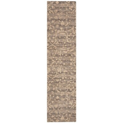 Silk Elements Taupe Damask Rug Rug Size: Runner 25 x 10
