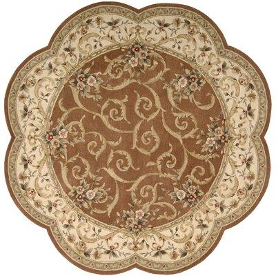 Heritage Savannerie Hand-Tufted Brick Oriental Area Rug Rug Size: Round 8
