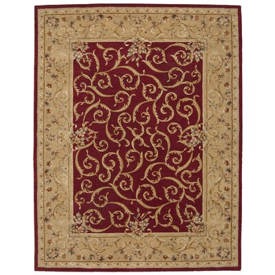 Heritage Savannerie Hand-Tufted Burgundy Area Rug Rug Size: 56 x 86