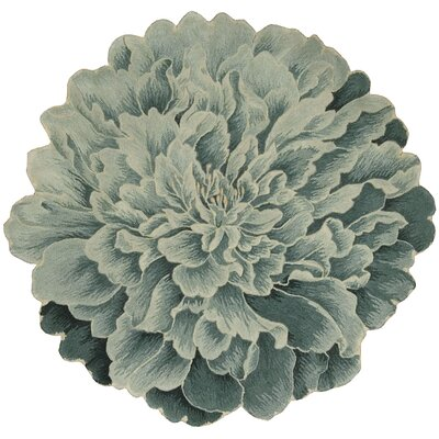 Bloom Hand-Tufted Teal Area Rug Rug Size: Round 3