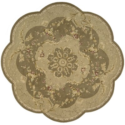 Axella Taupe Oriental Area Rug Rug Size: Round 8
